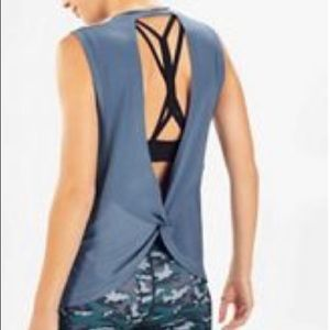 Fabletics Blue Open Back Tank Top